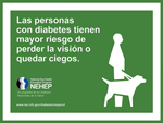Infocard with image of man walking dog and Spanish text Las personas con diabetes tienen mayor riesgo de perder la vision o quedar ciegos. Logo graphic of faces in profile for National Eye Health Education Program. Una programa de los Institutos Nacionales de la Saluda. www.nei.nih.gov/diabetes/espanol.