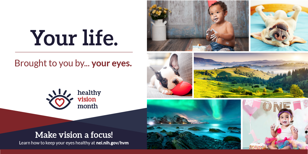 Your Life. Brought to you by... your eyes. Make vision a focus! Learn how to keep your eyes healthy at nei.nih.gov/hvm