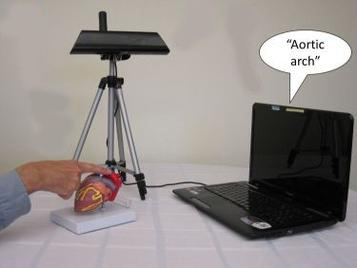 "The CamIO system, comprised of a laptop computer and a camera, enables users to explore any 3-D or 2-D object. By holding a finger on an object, users prompt the system to provide audio feedback. The photo shows a laptop with the words ""aortic arch"" above it. Also in the photo is a small tripod with a camera ontop and a hand touching a part of a heart model."
