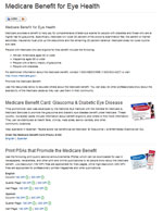 Medicare benefit for eye health Web page