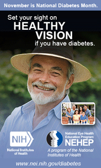 November is National Diabetes Month. Set your sight on healthy vision if you have diabetes.