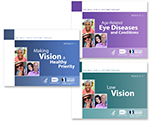 Toolkit Thumbnail images of three see well for a lifetime toolkit modules. Each image features a photo collage of smiling individuals and logos of HHS, NIH/national eye institute, and NEHEP/national eye health education program. Module 1: making vision a health priority. Module 2: Age-related eye diseases. Module 3: low vision.