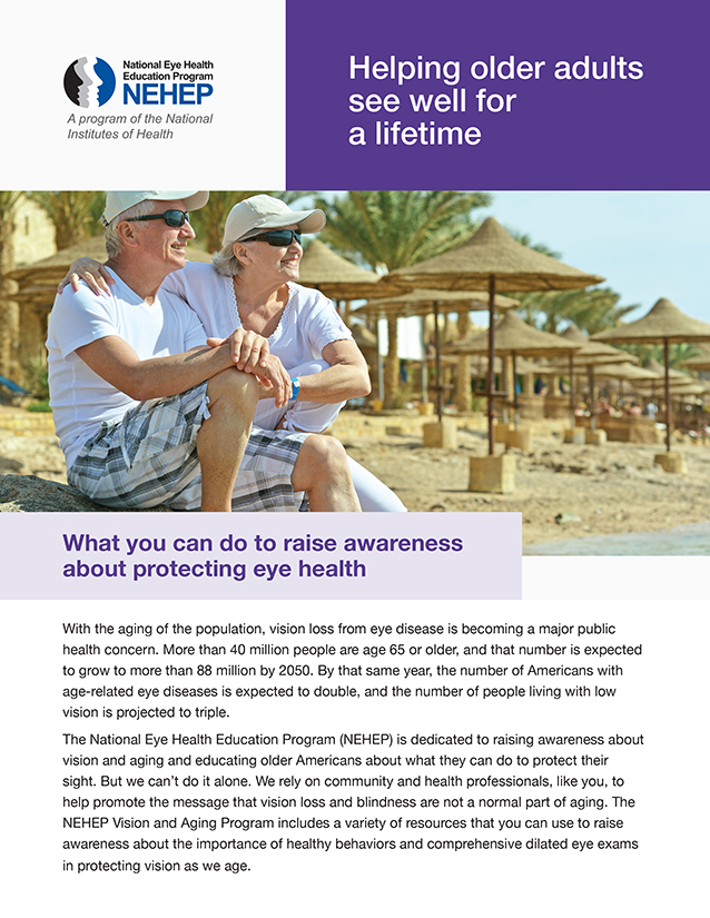 "Thumbnail image of ""Helping older adults see well for a lifetime"" fact sheet, for full content of article click on the link."