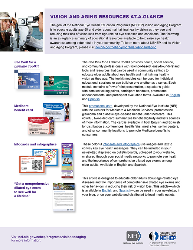 "Thumbnail image of ""Vision and aging resources at-a-glance"" handout, for full content of article click on the link."