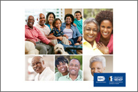 A collage of photos. Top left image shows a family of three generations. Right image shows a young woman hugging an older woman. Bottom left image shows an older man. Bottom center image shows a woman and man. Bottom right image shows an older woman.  NIH,  National Eye Institute. NEHEP, National Eye Health Education Program.