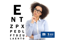 Woman wearing glasses looking at an eye chart with the following letters: E, N, T, Z, P, X, P, E, D, L, F, T, D, Z, and U. NIH,  National Eye Institute. NEHEP, National Eye Health Education Program, a program of the National Institutes of Health.