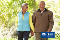 Man and woman holding hands walking. NIH, National Eye Intitute. NEHEP, National Eye Health Education Program.