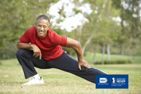 Man stretching. NIH, National Eye Institute. NEHEP, National Eye Health Education Program, a program of the National Institutes of Health.