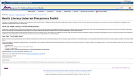 Screenshot of Health Literacy Universal Precautions Toolkit