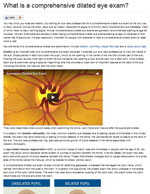 What is a comprehensive dilated eye exam Web page