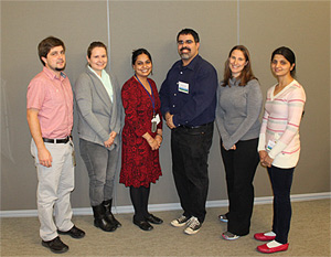 2014 Focus on Fellows Scientific Director Group Award Winners (L to R): Dr. Szilard Sajgo, Dr. Jennifer Kielczewski, Dr. Rinki Ratna Priya, Dr. Cesar Perez-Gonzalez, Dr. Helen May-Simera, and Dr. Ruchi Sharma