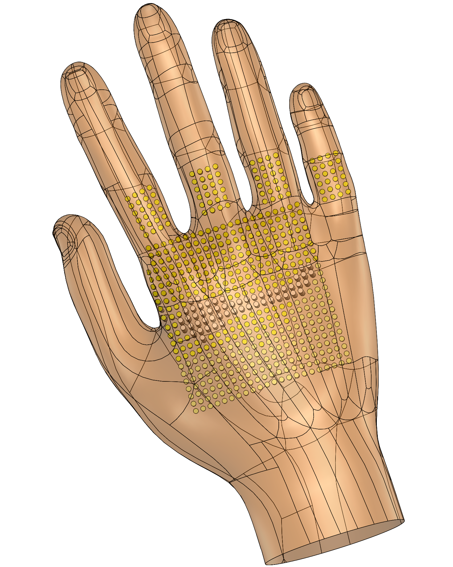 An array of small, cylindrical pins prompts users to position their hand to grasp a desired object. The photo shows a graphic image of the glove's technology. Yellow dots represent the cylindrical pins. There is a square patch on the palm of yellow dots and additional ones on the finger.