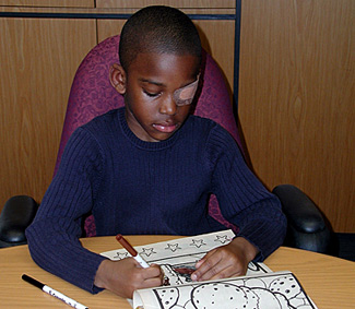 An example of a boy being treated for amblyopia.