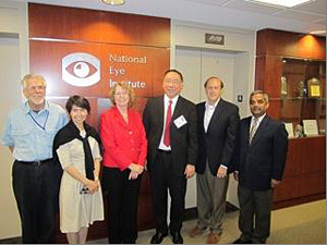 (left to right) Dr. Sheldon Miller, Dr. Emily Chew, Dr. Deborah Carper, Prof. Peng Tee Khaw, Dr. Robert Nussenblatt, and Dr. Gyan Prakash