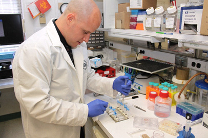 Hotaling at work in the Bharti Lab, NEI Unit on Ocular Stem Cells and Translational Research. (Joe Balintfy, NEI)