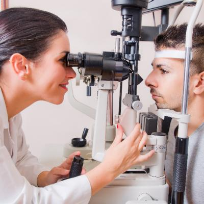 man getting an eye exam