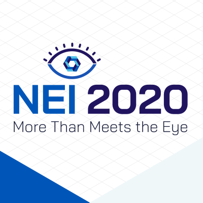 "NEI 2020 campaign logo with blue eye above the word ""NEI"""