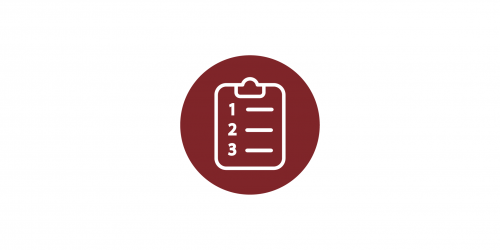 A red and white icon of a clipboard.