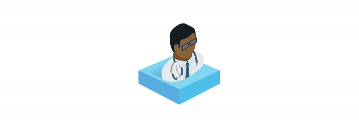 Icon of an African-American doctor with glasses