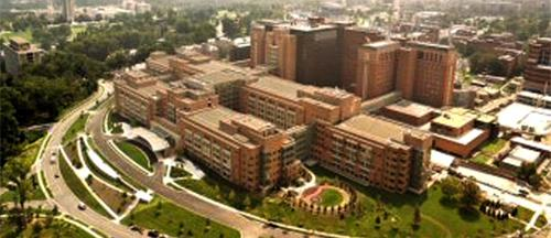 An aerial view of the National Institutes of Health campus in Bethesda, MD