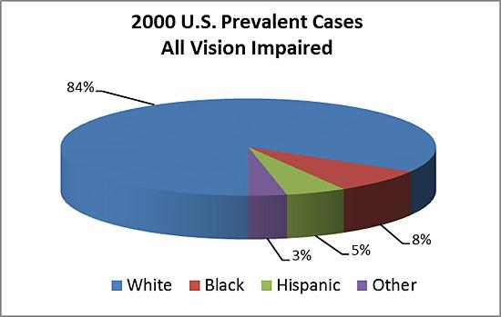 Pie chart depicting all cases of vision impairment by age and race/ethnicity. Whites cases make up 84%, black cases up 8%, Hispanic cases make up 5%, and other cases make up the remaining 3%.