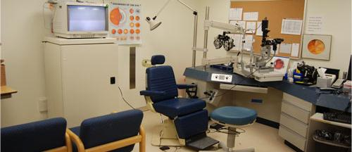 An exam room at the Eye Clinic