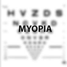 "Eye chart with ""myopia"" in focus"