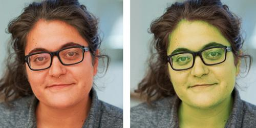 Two side by side portraits of a woman's face. The left image is tinted red and the right image is tinted green.