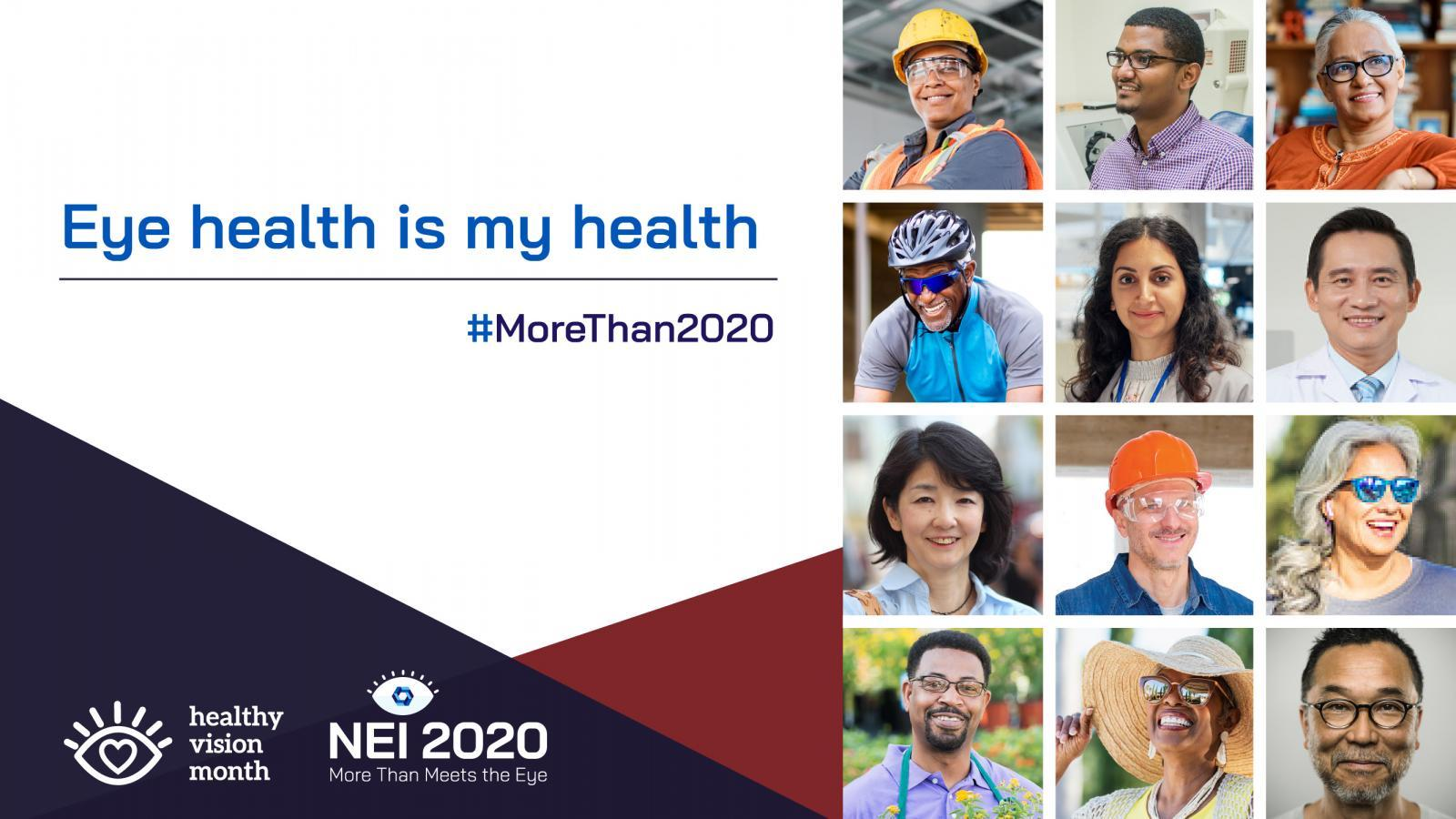 Eye Health Is My Health promotional graphic with a collage of a diverse group of people