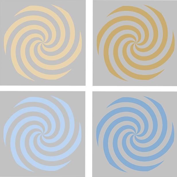 Grid of 4 colored spirals on gray background