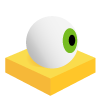Icon of an eyeball on a yellow square