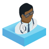 Icon of an African American doctor on a blue square