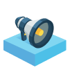 Icon of a bullhorn on a blue square