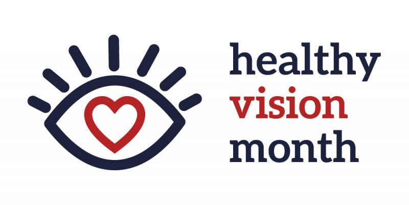 Eye icon with eyelashes and a red heart in the middle with the words Healthy Vision Month next to it