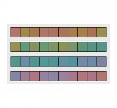 Four horizontal strips with squares of varied colors on them