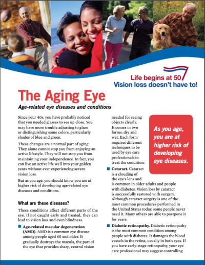 The Aging Eye: Age-related eye diseases and conditions