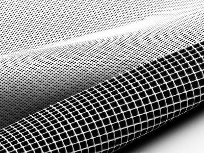 Roll of fabric-like material with open square pattern
