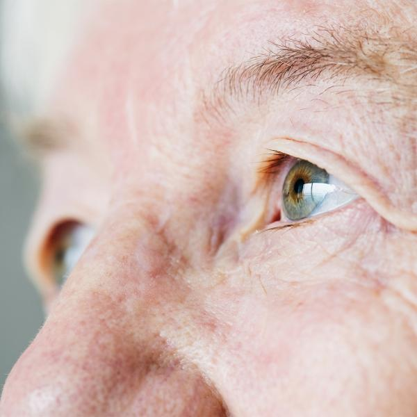 Profile of an elderly person's eyes