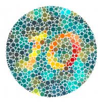 Different colored dots in a circle used for a color plate test