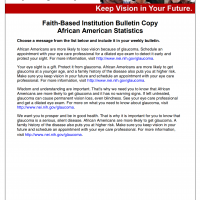Faith-Based Institution Bulletin Copy for African Americans