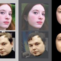Images of faces next to computer-generated versions of that face