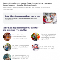 Handout on managing diabetes and eye health
