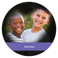 Glaucoma causes the loss of peripheral vision. This photo shows two boys in the center surrounded by blackness to depict the tunnel vision that can occur as the disease progresses.